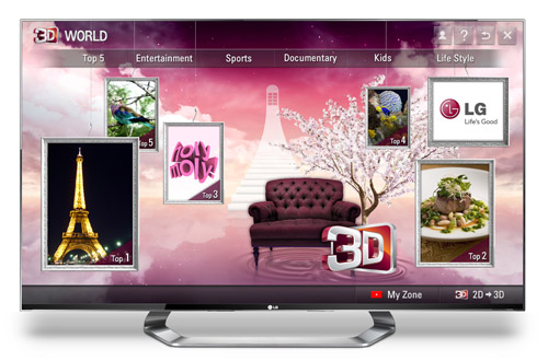 The home page of LG's premium 3D content service, 3D World, on an LG TV.