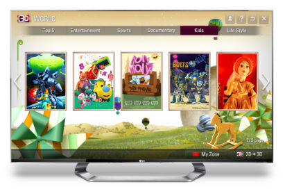 The kids' section of LG's premium 3D content service 3D World on an LG TV