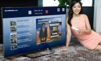 A model lies on the floor while controlling an LG Smart TV as it displays a weather forecast channel