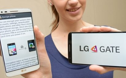 A female model is holding two G2s – each showing the process of LG GATE and its logo.