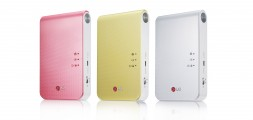 LG's smart mobile printer Pocket Photo 2.0 model PD239 in pink, jewel white and lime yellow