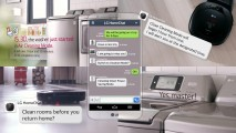 A screenshot of a message from LG HomeChat™ app notifying the user of the operation of appliances, including washing machines, robot vacuums and even answering the user's command