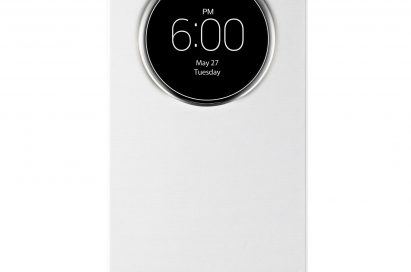 A front view of LG G3 wearing QuickCircleTM case in Silk White color.