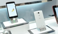 A back and front view of the L Fino smartphone.