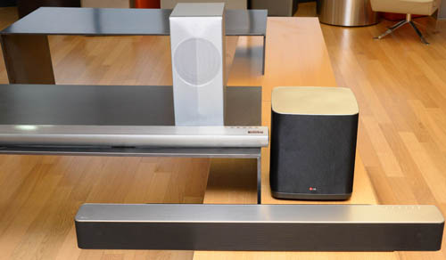 LG Music Flow Wi-Fi Series including LG Soundbar model HS7 and LG Soundbar model HS9.