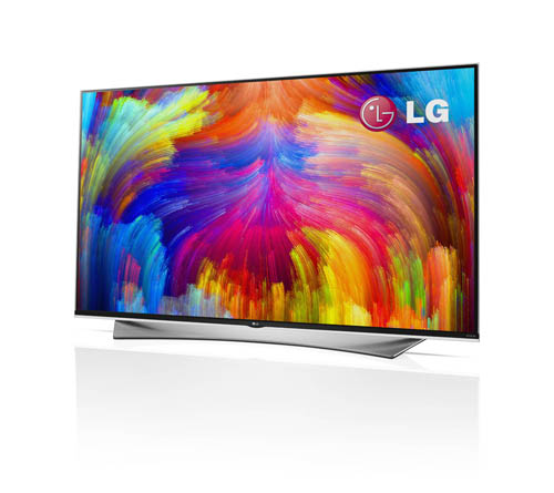 A right-side view of LG 4K ULTRA HD TV with quantum dot technology.