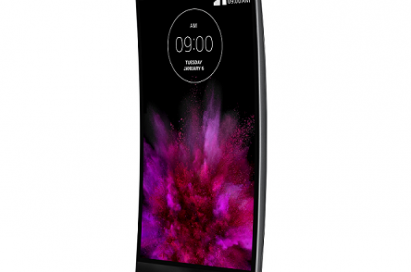 Front view of LG's G Flex2 smartphone facing 15 degrees to the left