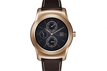Front view of LG Watch Urbanes in gold color