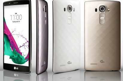 A LG G4 showing its front and other LG G4 handsets wearing three unique material covers in three colors(Metallic Gray, Shiny Gold, Ceramic White) with 3D patterns