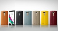 LG G4 handsets wearing handcrafted, genuine full grain leather back cover in six colors(From left to right; Brown, Black, Sky Blue, Beige, Yellow, Red). A LG G4 showing its front.