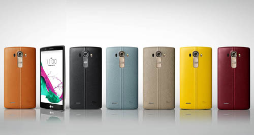 G4 handsets wearing handcrafted, genuine full grain leather back cover in six colors(From left to right; Brown, Black, Sky Blue, Beige, Yellow, Red). A LG G4 showing its front.