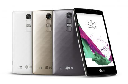 From left to right; back views of G4cs in Ceramic White, Shiny Gold, Metallic Gray, a front view of G4c.