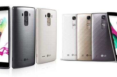 From left to right; A front view of G4 Stylus with its RubberdiumTM Stylus leaned, back views of G4 Stylus in Metallic Silver and Floral White, back views of G4cs in Ceramic White, Shiny Gold, Metallic Gray, a front view of G4c showing its front.