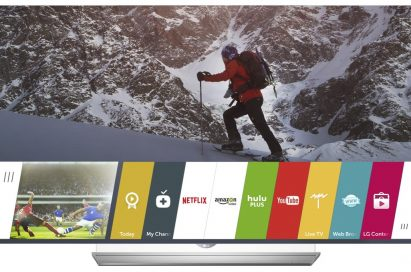 Apps provided by LG webOS are displayed on an LG Smart TV's display