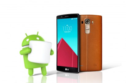 The LG G4 with the green Android logo holding a marshmallow, signaling that the LG G4 will receive the Android 6.0 Marshmallow OS