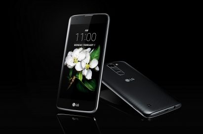The front and back view of the LG K7 in Black