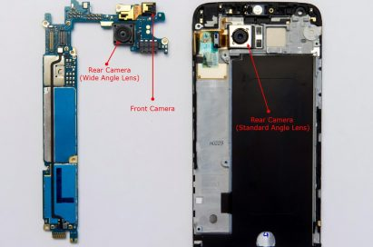The LG G5's two rear camera modules and front camera shown with other components