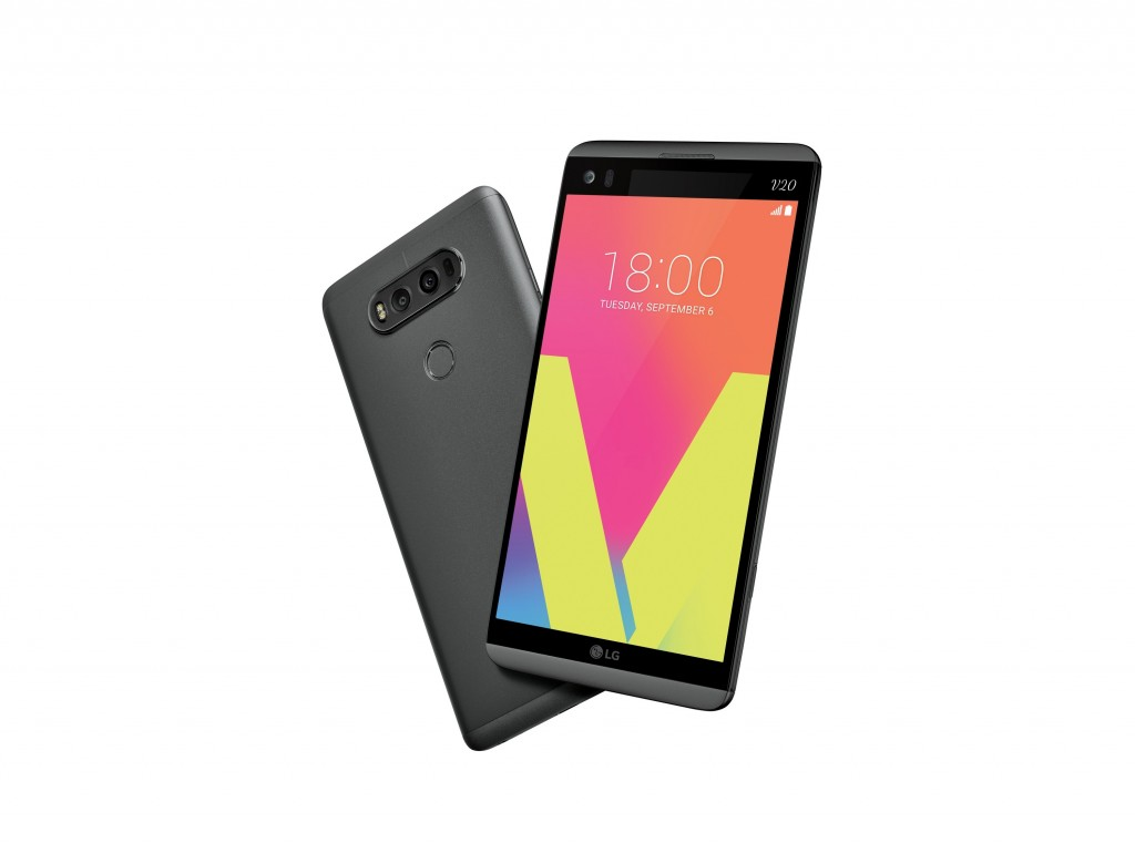 The front and rear view of the LG V20 in Titan