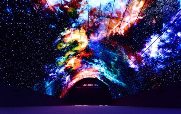 A wide-angle shot of the LG OLED Tunnel at IFA 2016.