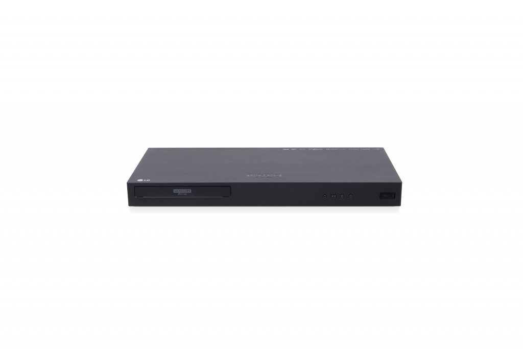 Front view of the LG UP970 Ultra HD Blu-ray player.