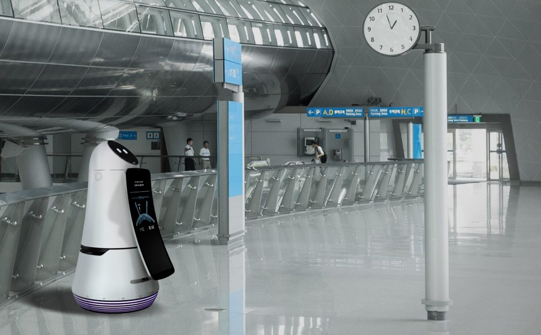 LG's Airport Guide Robot is on stand-by at the premises of the airport.