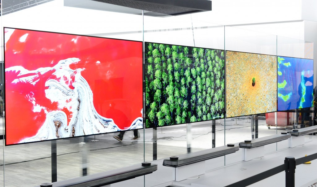 The LG SIGNATURE OLED TV W CES 2017 installation while moved to fit side-by-side.