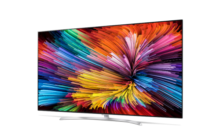 Front view of LG SUPER UHD TV (model SJ95) seen from a slight side angle