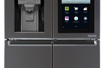 LG InstaView™ refrigerator with its touch panel activated