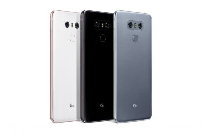 The rear view of the LG G6 in Mystic White, Astro Black and Ice Platinum