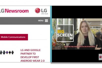 A screenshot of two perfectly square windows side by side with LG G6's smartly designed GUI that can enable the 18:9 FullVision display to be split in half