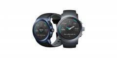 The front and side view of the LG Watch Sport in Titanium and Dark Blue
