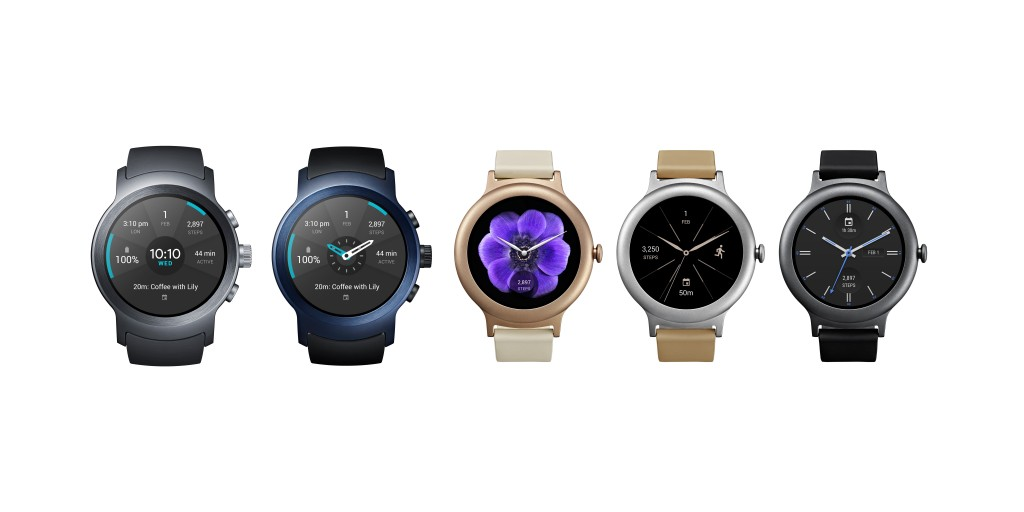 The front view of the LG Watch Sport in Titanium and Dark Blue and the LG Watch Style in Silver, Rose Gold and Titanium