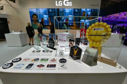 Two LG G6 devices and 31 booth awards given to the LG G6 at MWC 2017