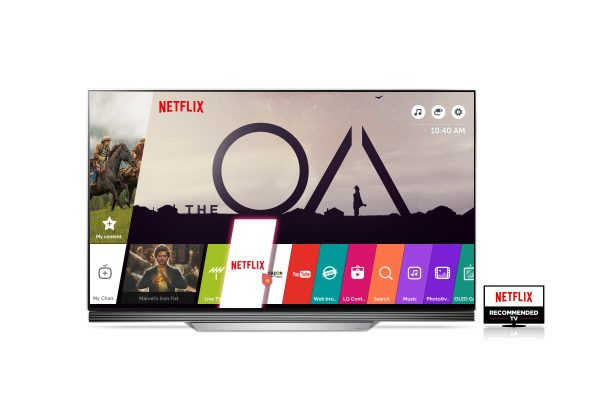 A Netflix Recommended LG TV launching the Netflix app.