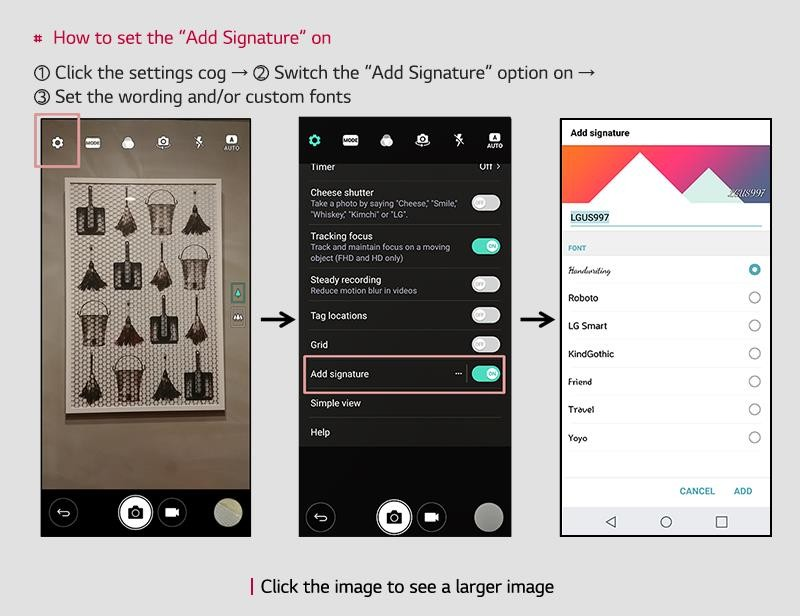 Series of three screenshots of LG G6 display giving step-by-step instructions for turning on the Add Signature feature
