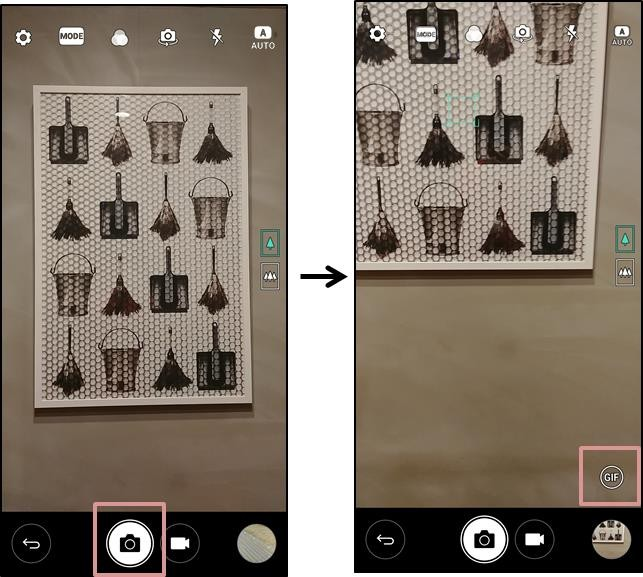 Series of two screenshots of LG G6 display giving step-by-step instructions for making GIF files with sequential photos