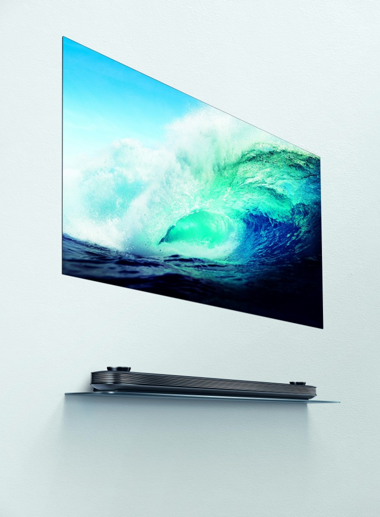 LG SIGNATURE OLED TV W positioned on a wall.