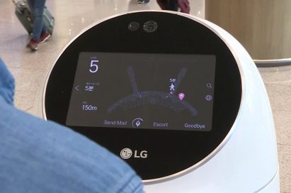 A close-up of the Airport Guide Robot's head display, which is showing a map of the terminal to a traveler at Incheon International Airport, Korea.