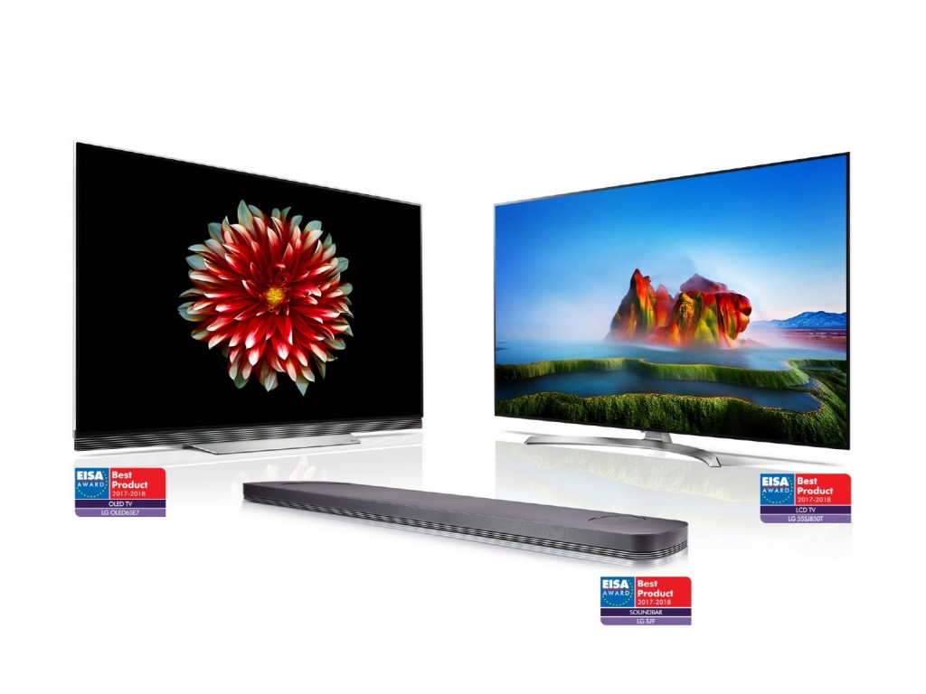 Ultra-slim LG OLED TV (model OLED65E7), LG SUPER UHD TV (model 55SJ850V) and LG Soundbar (model SJ9) with EISA AWARD Best Product logos attached to each product.