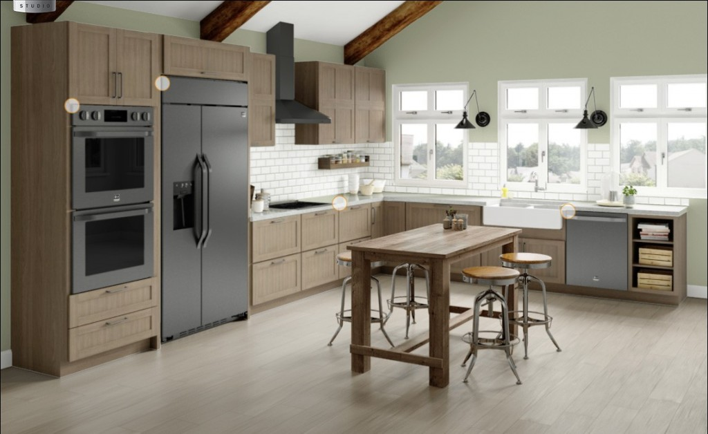 Kitchen with wooden cabinets and the complete North American LG STUDIO lineup with black stainless steel finish, including oven, induction stovetop, wall hood, dishwasher and Side-by-Side refrigerator.