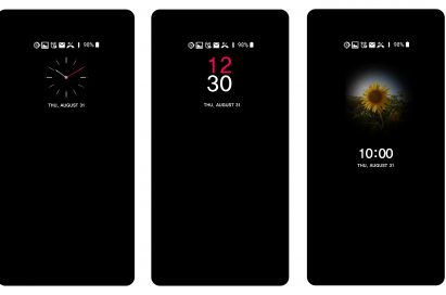 Three screenshots of the LG V30 when powered off, showing off various customizable AOD (always-on display) styles