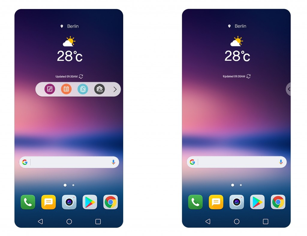 Two screenshots of the LG V30, showing off the upgraded UX and the new Floating Bar