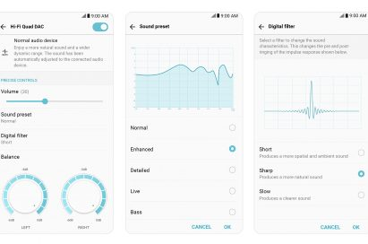Three screenshots of the LG V30's Hi-Fi Quad DAC settings, which allow users to control left and right audio signals and select sound presets and digital filters