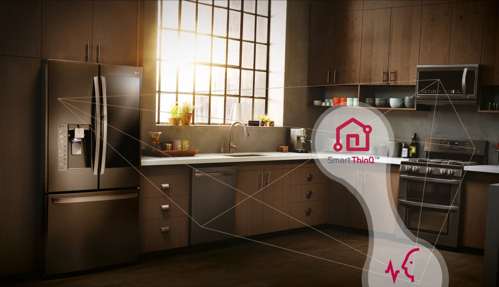 Kitchen with diagram connecting the LG InstaView Door-in-Door™ refrigerator, microwave, oven and dishwasher with a SmartThinQ™ icon and icon of a person speaking