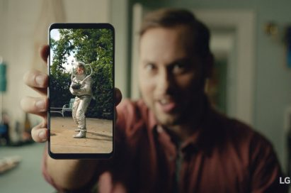 An image from the video clip shows a man holding LG V30 out towards the screen