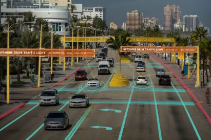 Cars depicting a demo of the traffic gauged by the HERE technologies digital mapping and location services.