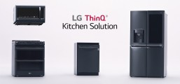 "LG EasyClean® oven range, QuadWash™ dishwasher, InstaView refrigerator and microwave featuring the LG ThinQ™ logo and the text ""Kitchen Solution"""
