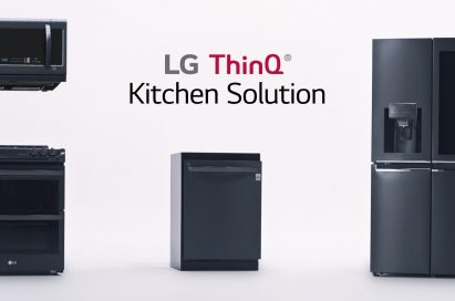 """LG EasyClean® oven range, QuadWash™ dishwasher, InstaView refrigerator and microwave featuring the LG ThinQ™ logo and the text """"Kitchen Solution"""""""