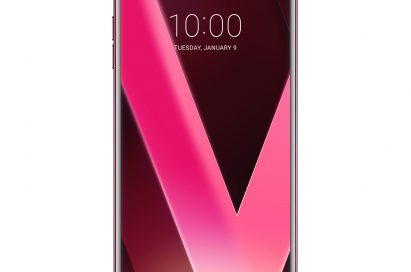 Front view of the LG V30 Raspberry Rose smartphone