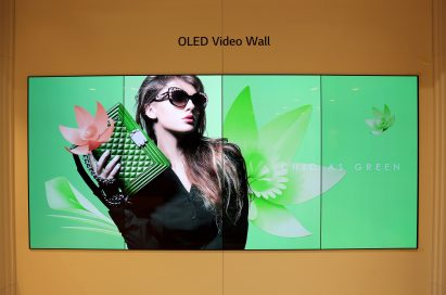 A view of the LG OLED Video Wall displayed at ISE 2018